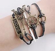 Hot Rudder Eiffel Tower Vintage Charm Leather Bracelets Love Handwork DIY Multilayer Infinity Bracelet