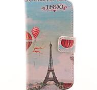O couro Torre Eiffel e balão de ar quente projeto PU e Processo Corpo tampa traseira completa plástico para Motorola MOTO G