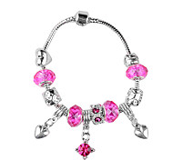 Heart-Shaped Drop Pink Beads Charm Bracelet