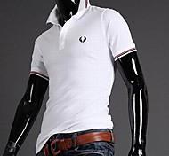 Moda Bordados Fino T-shirt de manga curta Casual Masculina