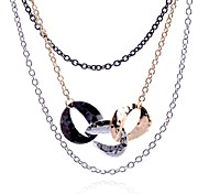 Lureme®Alloy Connected Ring Multilayer Chain Necklace