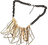 Fashionable Gold Plated Multiple Triangle Pendant Black Chain Alloy Necklace