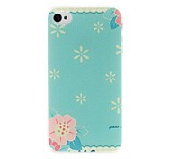 Litchi Texture Small Fresh Florals Pattern Plastic Hard Case for iPhone 4/4S
