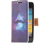 Mustache and Sky Style Leather Case with Card Slot and Stand for Samsung Galaxy S Advance i9070