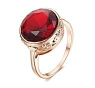 18K Rose Gold Plated Health Jewelry Nickel Austria Crystal Round Ruby Cocktail Ring
