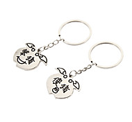 Cute Silly Pig Silver Stainless Steel Keychain(2 Pcs)