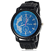 Men's Unique Dial Color Design Round Dial Silicone Band Quartz Analog Wrist Watch (Assorted Color)