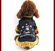 Fashionable Doggie Pattern Embroidery Coat  with Fur Collar for Pets Dogs