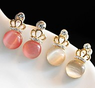 Crown Diamond Opal Stud Earrings (2 Colors)