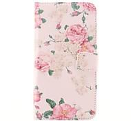 Flower Design Of Pink PU-Leder Ganzkörper-Fall mit Kartensteckplatz für Samsung Galaxy i9600 S5