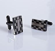 Stylish Men's Silver/Black  Chequer 316L Stainless Steel Cufflinks