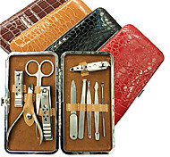 10PCS Nail Clippers Manicure Kits Within Alligator Grain Manicure Leather Bag(Random Color)