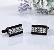 Stylish Men's Silver/Black Pattern 316L Stainless Steel Cufflinks