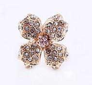 (1 Pc) Sweet completa Diamante Clover Unisex como Anéis Imagem (Ouro Preto)