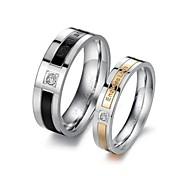 Diseño Creativo Vida Guardia Blanco y negro diamante de los amantes del anillo de acero de titanio