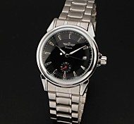 Men's Automatic Self-Wind Auto Date Black Dial Silver Steel Band Analog Wrist Watch