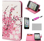 COCO FUN ® Flora Flower Wallet Card Slots Full Body PU Leather hoesjes met standaard voor de iPhone 4S Inclusief Film En Stylus