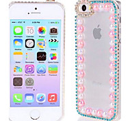 Sky Blue Rhinestone Transparent Clear Hard Back Case Cover Fit for iPhone 4 / 4S