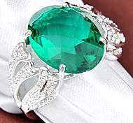 Date vert vintage Quartz Gemstone Silver Ring 1pc