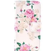 Big complet de l'affaire en cuir de corps de Rose Motif Fleur avec porte-cartes pour l'iPhone 5C