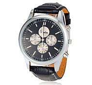 Men's Black Leather Band Quartz Wrist Watch (Assorted Colors)