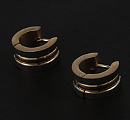 Fashion Double Side Drawing With Convex Surface Round Shape Silver Stainless Steel Stud Earrings (1 Pair)