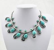Plata Collar de la flor de la turquesa de cristal antiguo de la vendimia (Verde) (1 PC)