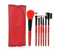 Pro High Quality 7 Stück Kunsthaar Make-up Pinsel mit PU Pouch 6 Farben für Wahl