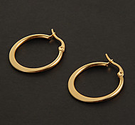 Fashion Simple 2.0CM Flat Shape Golden Stainless Steel Hoop Earrings (1 Pair)