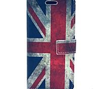 Retro bandera de Gran Bretaña de la PU de cuero duro caso con el soporte y ranura para tarjeta para HTC uno M7