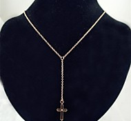 Fashion Rose Gold Cross Stainless Steel Pendant Necklace
