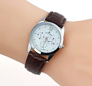 Men's Elegant Multi Pointer White Matrix Pattern Artificial Leather watch(1pc)