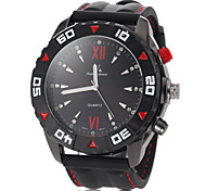 Men's Fashion Black Case Silicone Band Quartz Wrist Watch (Assorted Colors)