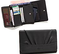 4in1 schwarz Pu Quadrat komplizierten Multifunktionskupplung Karteninhaber Geldbörse Brieftasche Handytasche