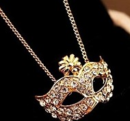 Fox Mask Inlay Diamond Female Short Clavicle Pendant Necklace