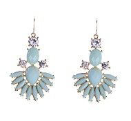 Fashion Stone Set Fan Shape Drop Earrings