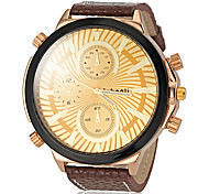 Men's Big Dial PU Band Quartz Wrist Watch (Assorted Colors)