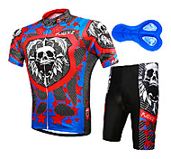 FJQXZ Men's 100% Polyester Black+Blue+Red Short Sleeve Cycling Suit