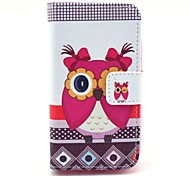 Beautiful Female Owl Pattern PU Leather Case with Card Holder and Stand for Samsung Galaxy I8160