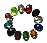 24PCS Mixs Color Glitter Oval Rhinestone Nail Art Decorations