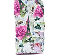 Peony Flower Eiffel Tower Pattern PU Leather Case with Card Holder for Samsung Galaxy I8160