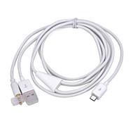 3.5mm Car Audio AUX + USB 2.0 cable de carga para Samsung Galaxy S2 i9100 / nota i9220 / S3 i9300 (blanco)