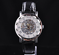 Stylish Black Leather Case Semiautomatic Assembly Kits Hollow Mechanical Watches