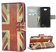 The Union Jack Pattern Case Cover with Card Slot and Stand for LG L70 D320