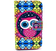 Diamond Puzzle Owl Pattern PU Leather Case with Card Holder and Stand for Samsung Galaxy I8160