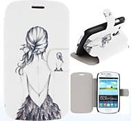 Affaire Full Body Motif Beauté dos nu fille en cuir PU avec logement pour carte pour Samsung S3 Mini I8190N