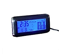 Car Thermometer Clock Calendar Time Hygrometer Blue Orange Backlight Digital 12V Auto-Black