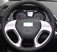 XuJi ™ Black Genuine Leather Steering Wheel Cover for Hyundai ix35