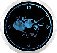 nc0703 Cow Home Decor Neon Sign LED Wall Clock