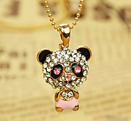 Fashion Panda Shape Diamanted Pendent Necklace(Black,Pink)(1 Pc)